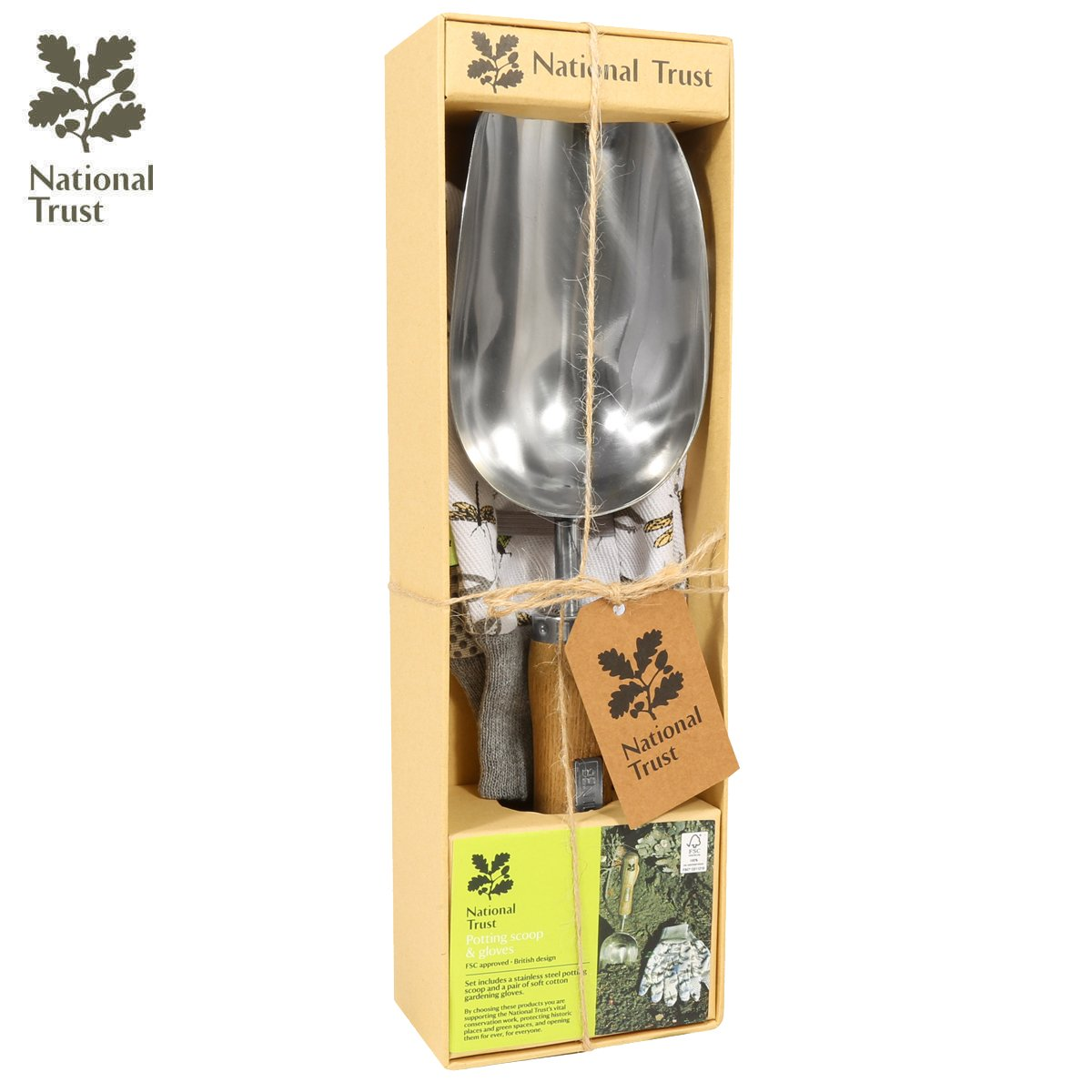 Charles Bentley National Trust Gift Set With Hand Fork & Cotton Gloves Gardening Hand Tools