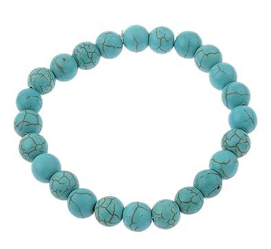 Vifaleno Bracelet Turquoise, Turquoise Naturelle, Rond, Bleu, 6mm