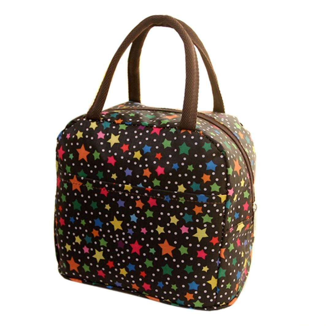 Lunch Tote,Vibola Portable Thermal Insulated Tote Picnic Lunch Cool Bag Cooler Box Handbag Pouch (Black)