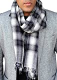 Anika Dali Men's Milan Elegant Check Plaid Scarf in Soft Wool, Black/White