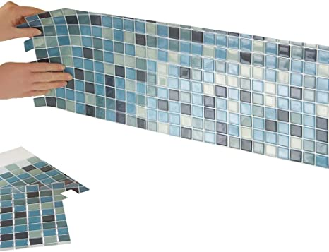 Amazon Com Collections Etc Multi Colored Adhesive Mosaic Backsplash Tiles For Kitchen And Bathroom Set Of 6 Blue Multi Home Kitchen