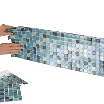 Astounding Collections Etc Multi Colored Adhesive Mosaic Backsplash Tiles For Kitchen And Bathroom Set Of 6 Blue Multi Home Interior And Landscaping Synyenasavecom