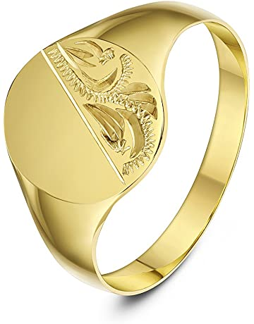 1ae58ca886 Theia Oval Shape Engraved Design 9 ct Yellow Gold Signet Ring