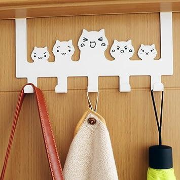 Cat Key Hooks Holder Coat Hook Wall Mounted Wooden Door Rack Hanger  SL