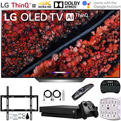 "LG OLED77C9PUB 77"" C9 4K HDR Smart OLED TV w/AI ThinQ (2019) + Microsoft Xbox One X 1TB + Deco Mount Flat Wall Mount Kit + 2.4GHz Wireless Keyboard w/Touchpad + 6-Outlet Surge Adapter w/Night Light"