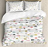 Arrow Decor Duvet Cover Set King Size by Ambesonne, Colorful Arrows Pattern Native American Style Art, Decorative 3 Piece Bedding Set with 2 Pillow Shams