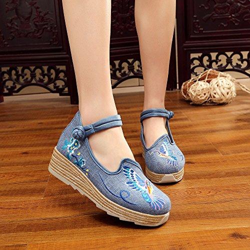 ZLL Gestickte Schuhe, Leinen, Sehnensohle, ethnischer Stil, erhöhte weibliche Schuhe, Mode, bequem, lässig , blue , 41