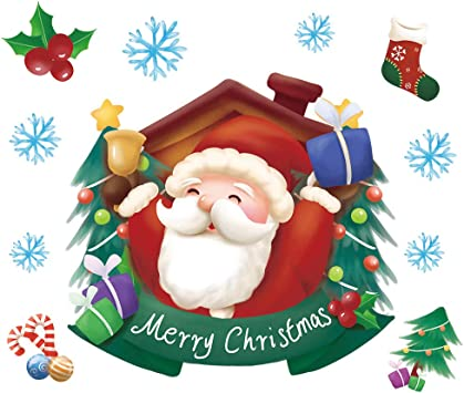 Cartoon Christmas Sticker Window Showcase Removable Santa Claus Snowman Gift