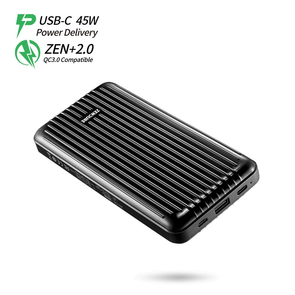 Zendure 45W Power Delivery Portable Charger A6PD 20100mAh Ultra-Durable PD Power Bank with USB-C Input/Output, External Battery for MacBook Pro, iPhone X/8, Samsung, Nintendo Switch and More - Black