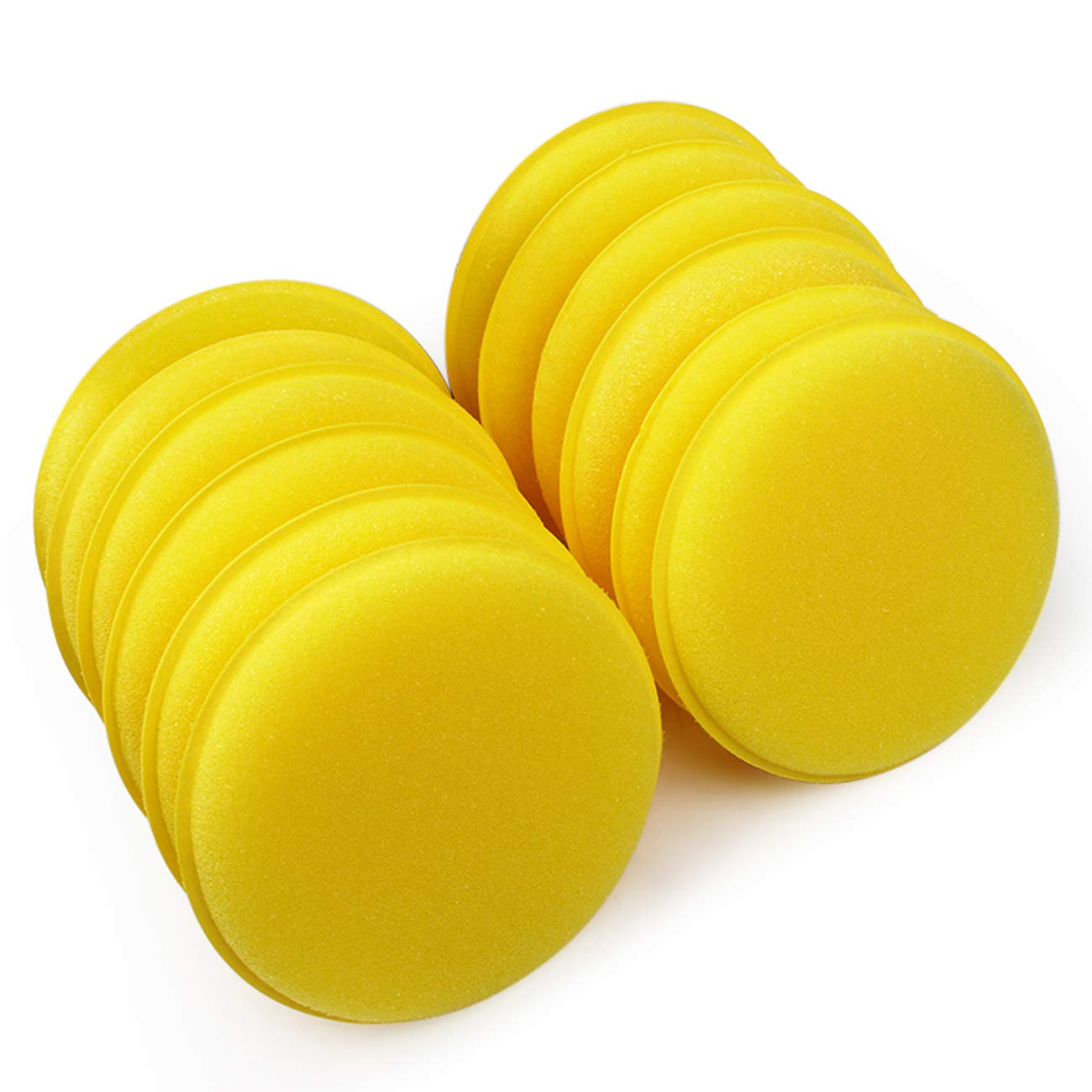 "Sunnyglade 12PCS 4"" Car Wax Applicator/Round Shaped Sponge/Cars Wax Applicator Foam Sponge Ultra-Soft Cleaning Tool (Yellow x12)"