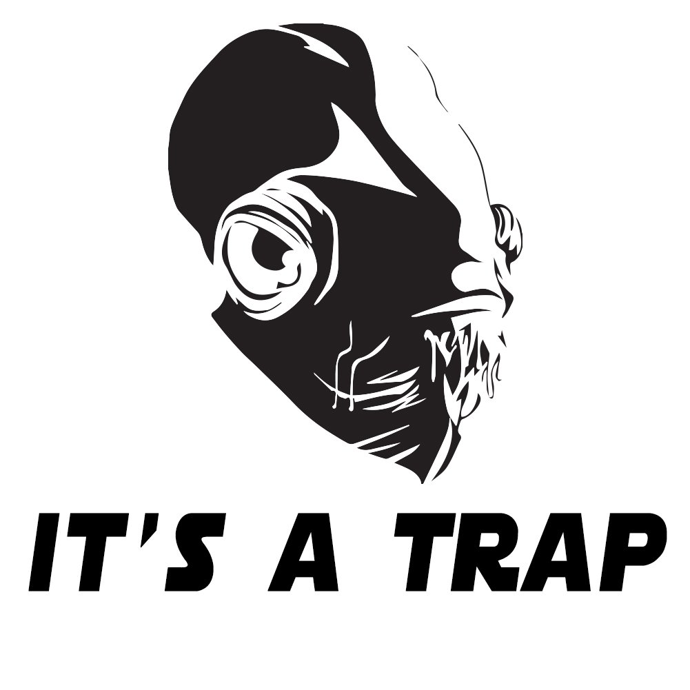 "It's A Trap Admiral Ackbar 6"" Vinyl Sticker Car Decal (6"" BLACK)"