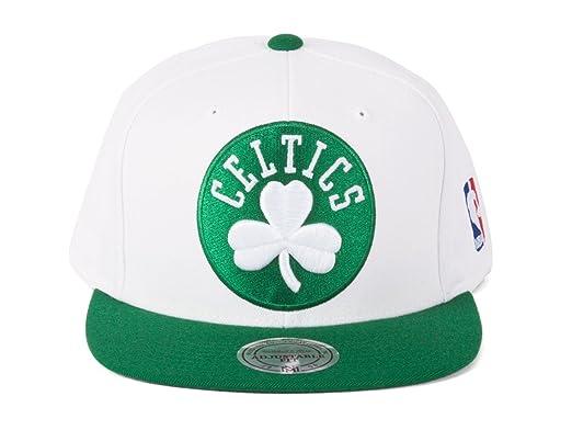 Amazon.com  Mitchell   Ness Boston Celtics Snapback Hat White Green ... 3545c6e2e303