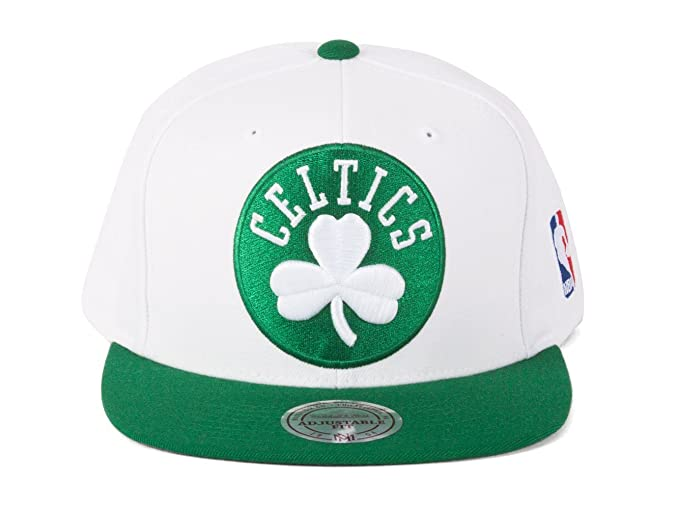 13d8b2a172d Image Unavailable. Image not available for. Color  Mitchell   Ness Boston  Celtics Snapback Hat White Green Green ...