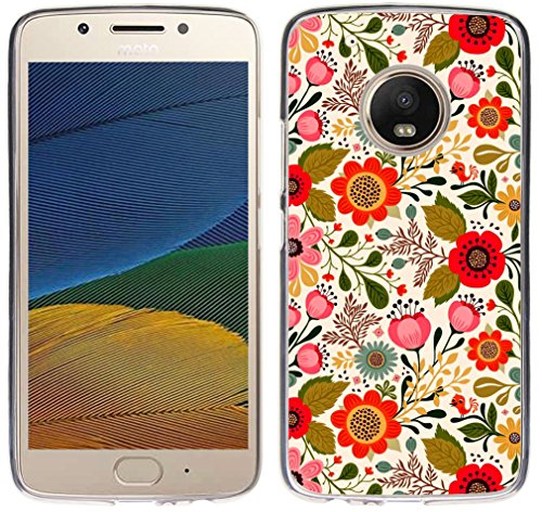 Case for Moto G5 Plus Flower Pink - CCLOT TPU Flexible Protective Cover Compatible for Motorola 5th Generation for Moto G5 Plus TPU Rubber Colorful Luxury Pattern Slim (Silicone Bumper Skin)