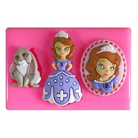 Princesa Sofía Molde de silicona para la torta de Decoración Pastel de Cupcake Toppers Glaseado Sugarcraft