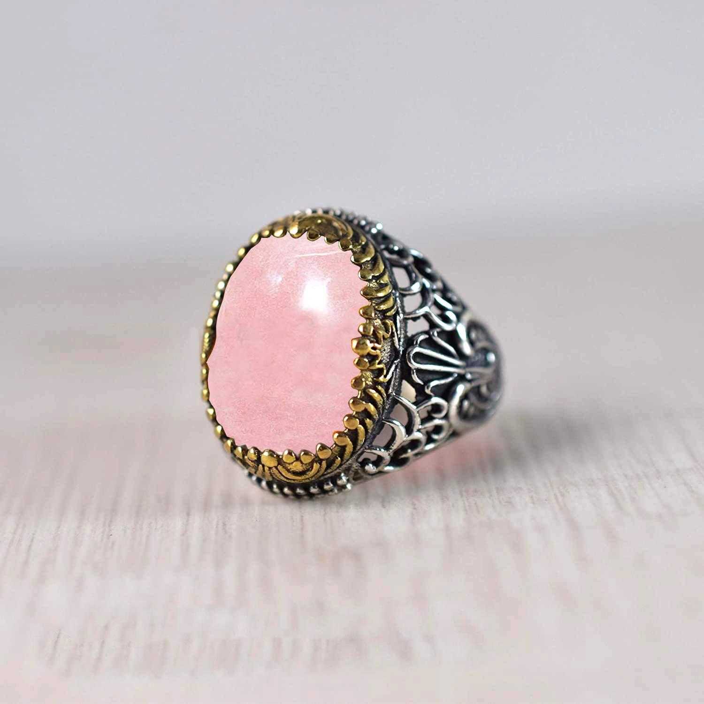Rose Quartz Natural Gemstone Handmade 925 Sterling Silver Ring