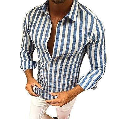 120d4e0e5e NPRADLA Fashion Men Stripe Long Sleeves Polo T-Shirt Plus Size Casual Cool Slim  Fit Tees Tops  Amazon.co.uk  Clothing