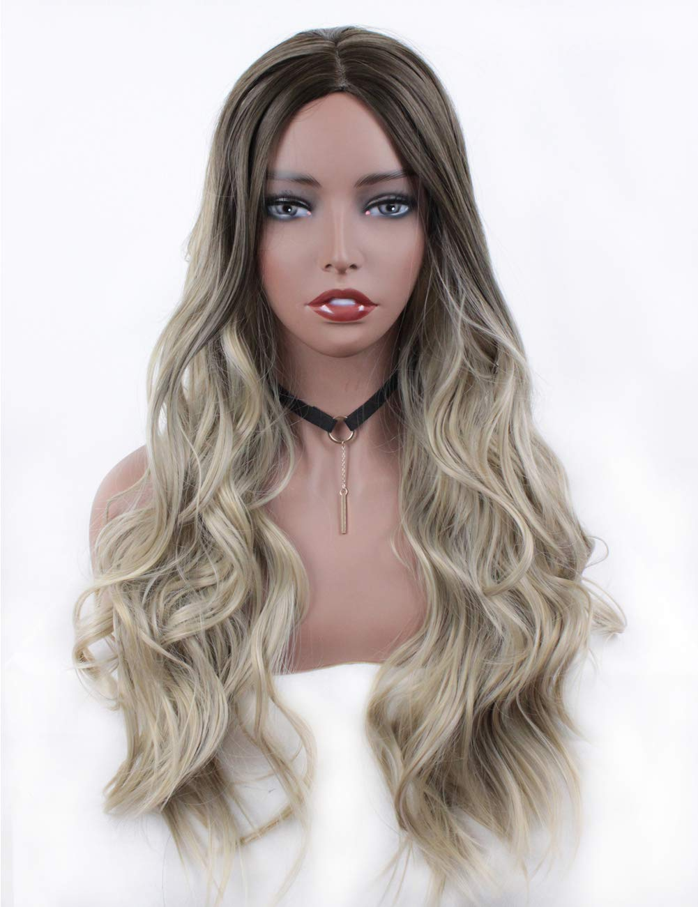 Ombre Color Long Wavy Synthetic Wigs for Women Natural Looking Heat Resistant Replacement Wig Full Machine Made 24 Inch BRHAIR