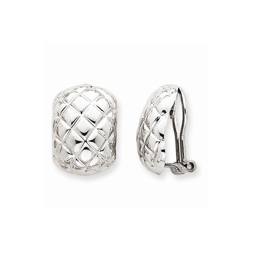 14k White Gold Polished Quilted Non Pierced Clip Omega Back Earrings