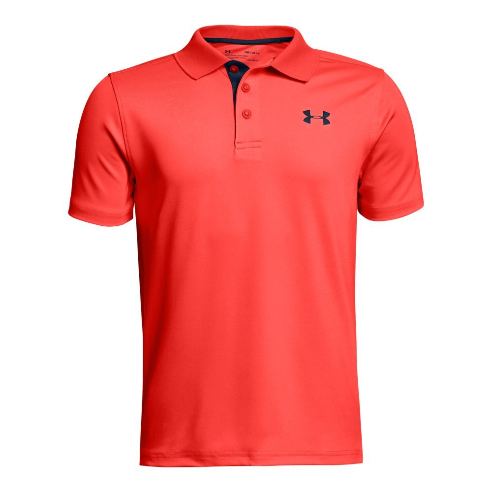 Under Armour Boys' Performance Polo, Neon Coral (985)/Academy, Youth X-Small