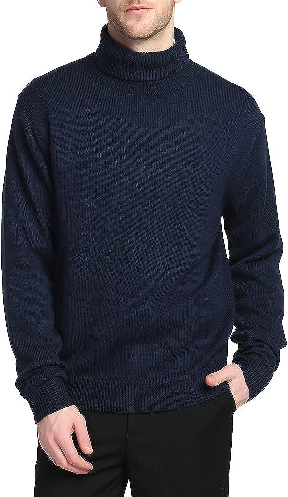 Kallspin Men's Merino Wool Blend Relax Fit Turtle Neck Sweater Pullover