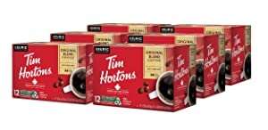 Tim Hortons Original Blend Single Serve Coffee Cups, 72-Count (6 Boxes of 12Ct K-Cups)
