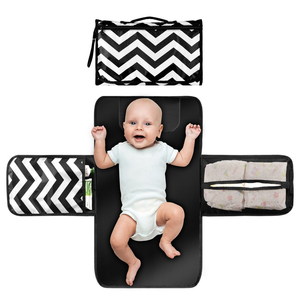 Shyme Baby Diaper Changing Pad - Portable Changing Station - Travel Gear Changing Mat Clutch Kit for Newborn Toddler Infant with Head Cushion & 3 Pockets (Black & White)