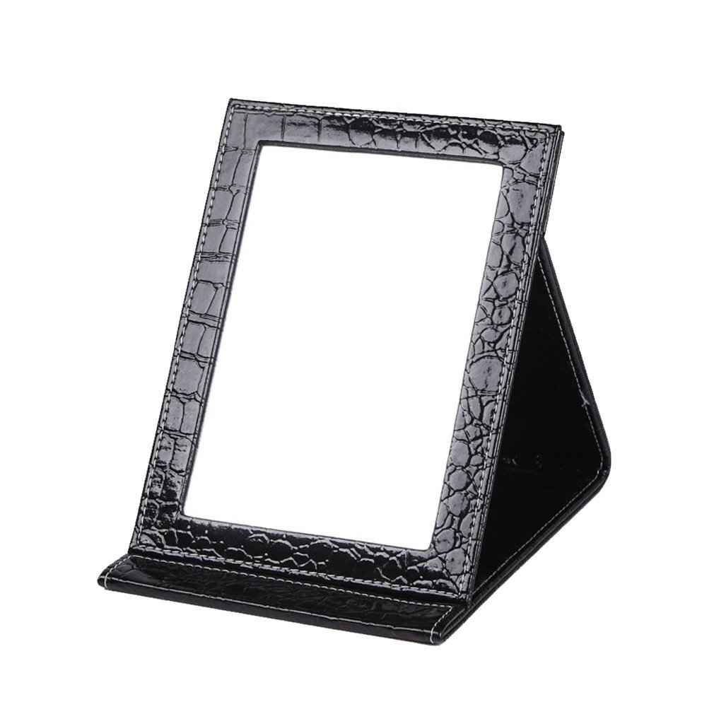 Rnow Deluxe PU Leather Desktop Large Makeup Cosmetics Personal Beauty Folding Mirrors Red