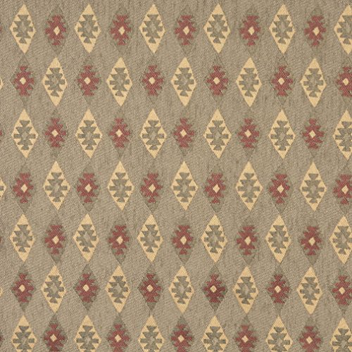 J757 Southwest Diamond Chenille Upholstery Fabric | Green Gold and Burgundy Chenille Upholstery Fabric by The Yard