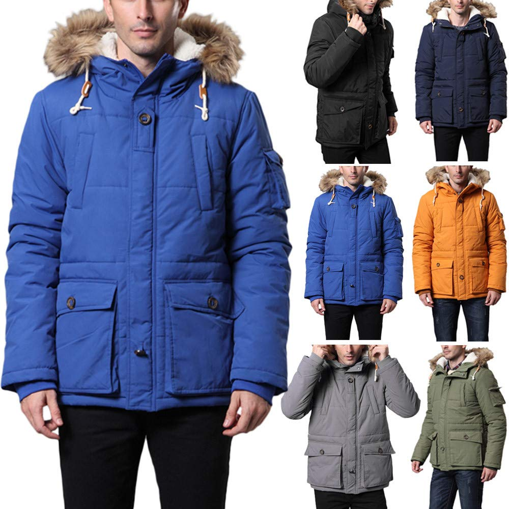 AKIMPE Mens Autumn Winter Casual Long Sleeve Hooded Fur Collar Thick Cotton Jacket at Amazon Mens Clothing store: