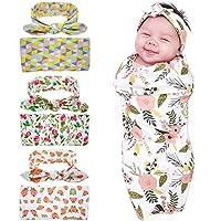 Bigface Up Set of 1 or 3 Swaddle Sack,Newborn Baby Sleep Blanket With Headban...