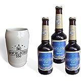 Geschenkset Bierkrug Arschlecken 350 Original ML & 3 x Bier Helles in 0,33 Liter Flasche Alc.5,2 % vol.