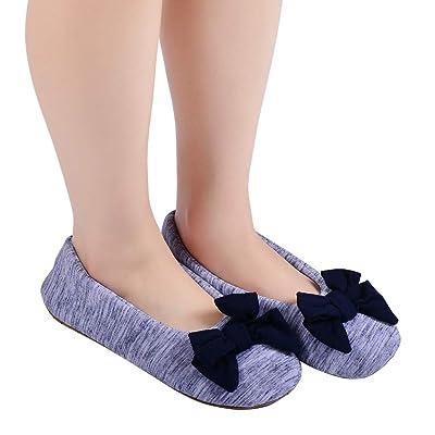 Women's Ballet Slippers,Comfy Warm Ballerina House Slipper,Lightweight Anti-Skid House Shoes: Clothing