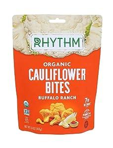 Rhythm Superfoods Crunchy Cauliflower Bites, Buffalo Ranch, Organic & Non-GMO, 1.4 Oz, Vegan/Gluten-Free Vegetable Superfood Snacks