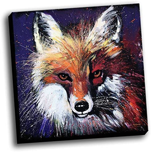 Red Fox 20 x20 Splash Collection Wall Decoration Colorful Art Image Printed on Canvas Stretched and Framed Ready to Hang From Picture It on Canvas