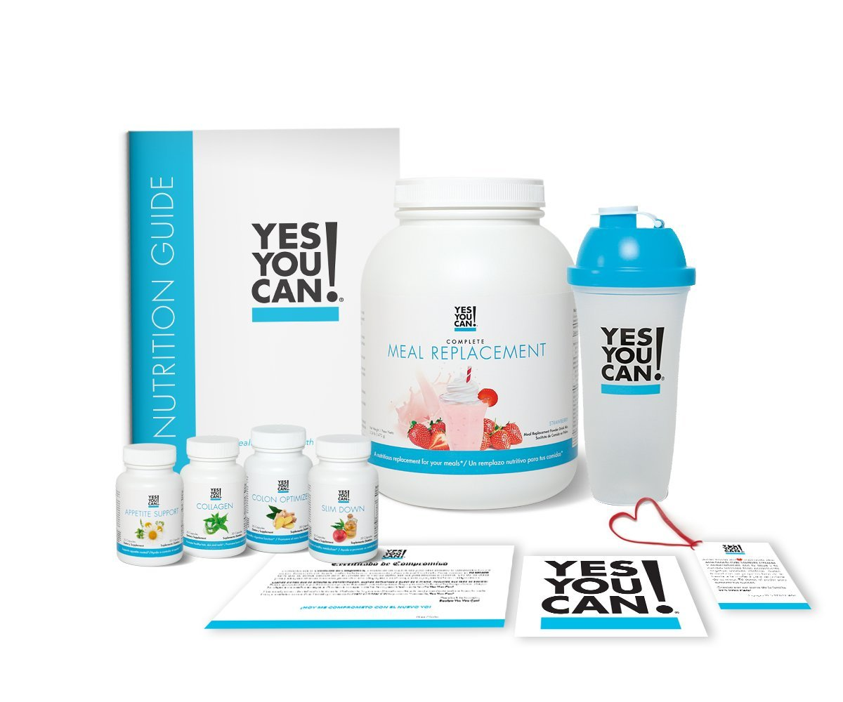 Yes You Can! Transform Kit: On-The-Go 30 Servings, Once a Day, Contains: One Complete Meal Replacement Strawberry, One Slim Down, One Appetite Support, One Collagen, One Colon Optimizer, One Shaker