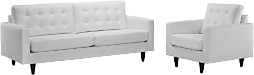 Modway Empress Mid-Century Modern Upholstered Leather Sofa and Armchair Set White