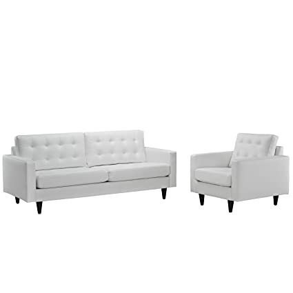 amazon com modern contemporary sofa and armchair set of two white rh amazon com Single Armchair Teal Armchair