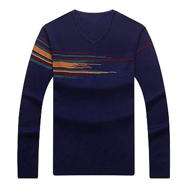 Huixin Suéter De Manga Larga De Hombres Cuello Los De Jersey Ocasionales En Vintage V Suéter