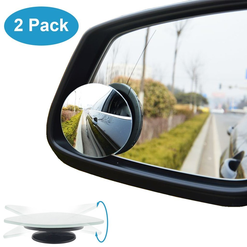 QueenDer Blind Spot Mirrors, Frameless Wide Angle Round Mirror HD Glass 360° Rotatable Adjustable Car Side Wing Mirror Convex mirror Universal Blind Spot Mirror for Car SUV Trucks Traffic Safety