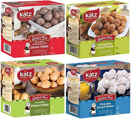 Katz Gluten Free Variety Pack, 1 Powdered Donut Holes, 1 Glazed Donut Holes, 1 Glazed Chocolate Donut Holes. 1 Cinnamon Donut Holes