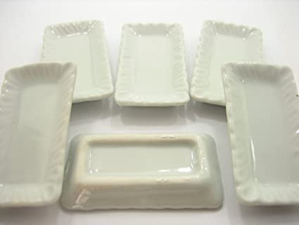 10 White Rectangle Tray Dollhouse Miniatures Ceramic Kitchenware