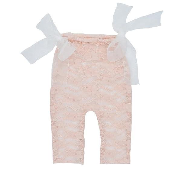 Zolimx Bebé Recién Nacido Fotografía Atrezzo Encaje Mameluco Bowknot Mono de 0-12 Meses (