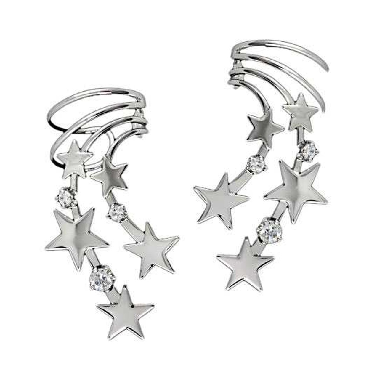 Sterling Silver Left And Right Pierceless Celestial Stars Ear Cuff Wraps