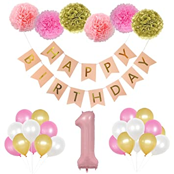 1st Birthday Party Decorations First Supplies Girl Perfect Decoration Kit