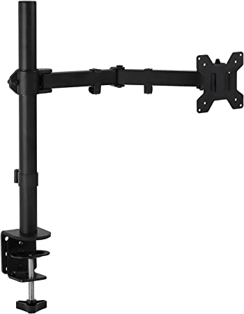 Mount-It! Single Monitor Arm Mount | Desk Stand | Full Motion Height Adjustable Articulating Tilt | Fits 19 21 24 27 29 30 32 Inch VESA 75 100 Compatible Computer Screen | C-Clamp and Grommet Base