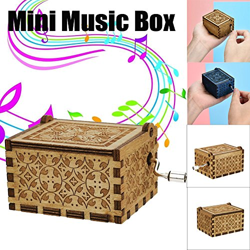 Creative Vintage Mini Music Box Engraved Wooden Music Box Interesting Toys Baby Kids Child Christmas Xmas Decorations Toys Gifts Educational Toys Gifts (A)