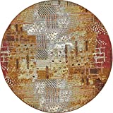 Unique Loom Outdoor Collection Rustic Abstract Vintage Transitional Indoor and Outdoor Multi Round Rug (8′ x 8′) For Sale