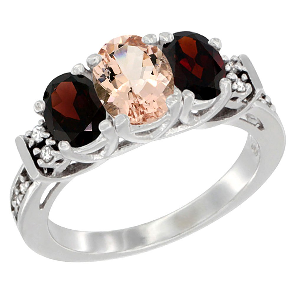 10K White Gold Natural Morganite & Garnet Ring 3-Stone Oval Diamond Accent, size 8