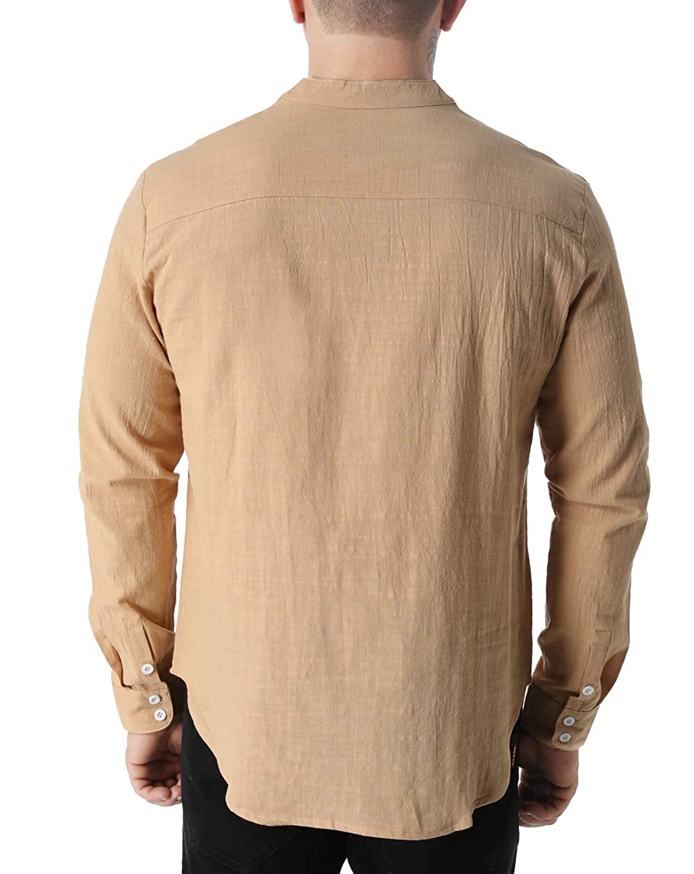 GAESHOW Mens Hippie Shirt Lightweight Cotton Long Sleeve Beach Yoga Tunic Loose Fit Henleys Tops